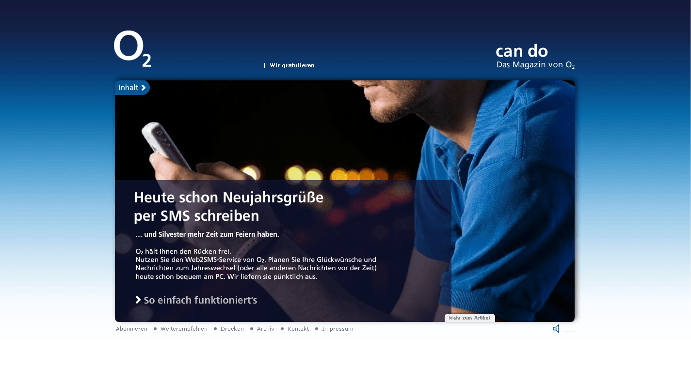 O2 can do Website Silvesterparty Stefie Plendl