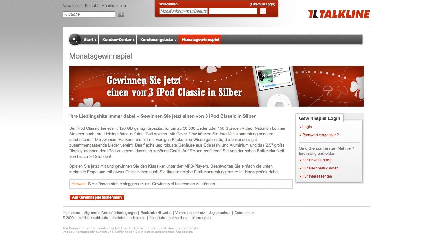 Talkline Gewinnspiel Unterseite  Stefie Plendl