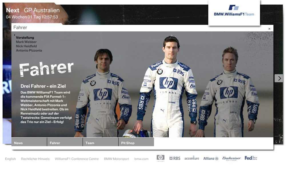 BMW WilliamsF1 Website Stefie Plendl